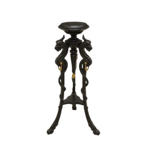 19th Century French Gothic Revival Victorian Hand Carved & Painted Griffin Pedestal / Plant Stand For Sale