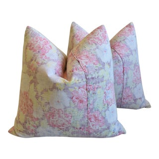 """Bohemian Chic Rose & Yellow Floral Batik Feather/Down Pillows 24"""" Square - Pair For Sale"""