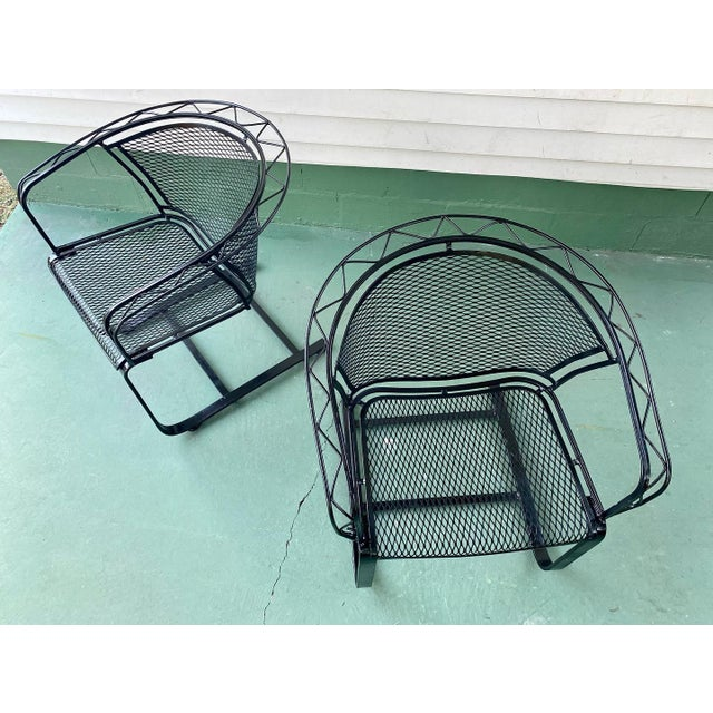 1960s 1960s Mid Century Modern Wrought Iron Rocker Chairs - a Pair For Sale - Image 5 of 7