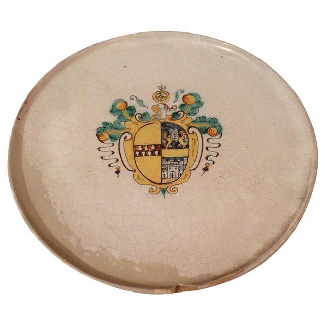 Ceramic 17th Century Italian Antique Majolica Centerpiece With Emblem, 1680s For Sale - Image 7 of 7