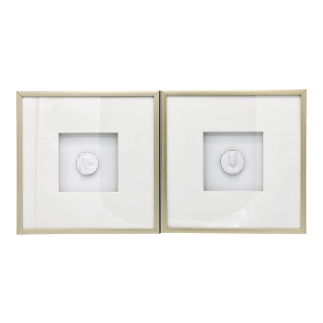Egyptian Revival Gold Framed Intaglio Medallions - Set of Two For Sale