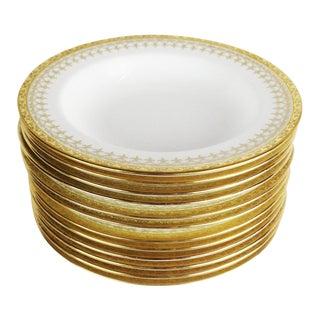 Cauldon English Gold Band Porcelain Deep Dish Plates - Set of 12 For Sale