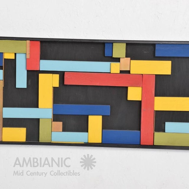 Mid-Century Wood Block Abstract Art For Sale In San Diego - Image 6 of 10