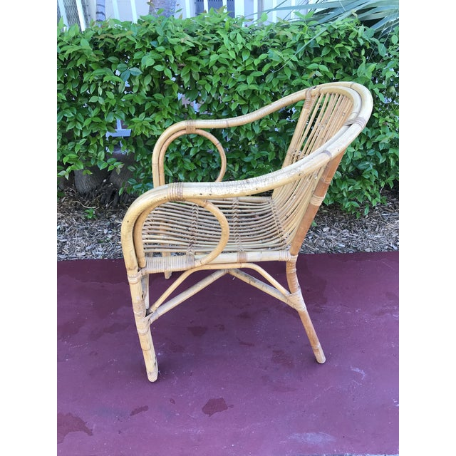 1960s Vintage Bamboo Arm Chairs- Set of 4 For Sale - Image 9 of 13