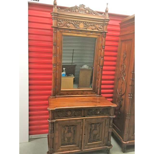 Indonesian carved teak hall vanity chairish for 0co om cca 9 source table