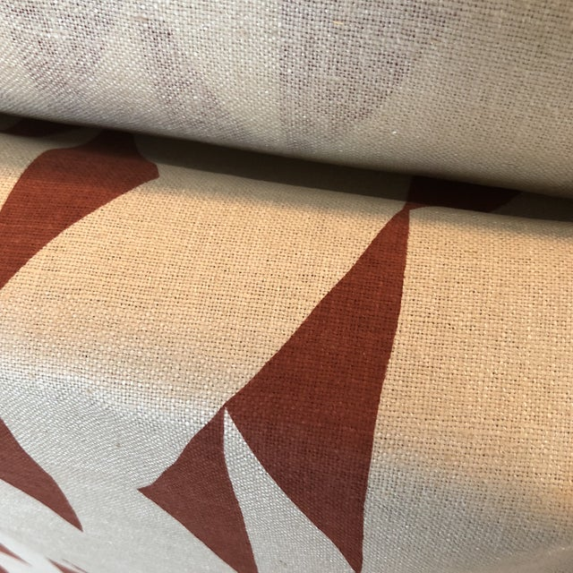 Maroon Print Fabric on Silk For Sale In New York - Image 6 of 8