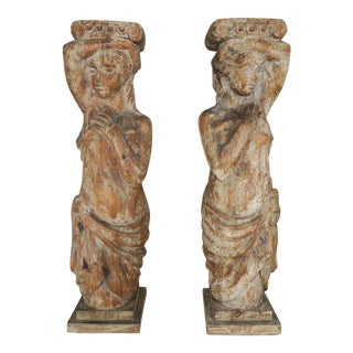 Carved Wood Pedestals - a Pair