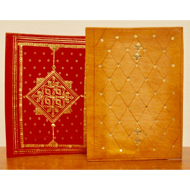 Gold Stamped Moroccan Leather Book Covers - A Pair - Image 2 of 11