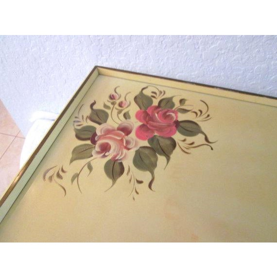 Vintage Tole Yellow & Rose Breakfast Tray - Image 3 of 6