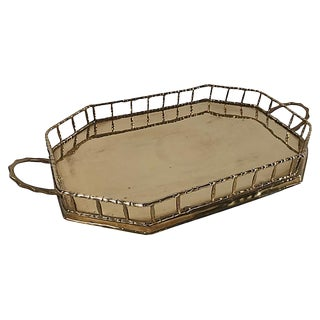 Brass Bamboo Railed Tray For Sale