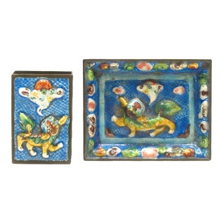 Cloisonné Ashtray & Matchbox Holder C.1900 For Sale