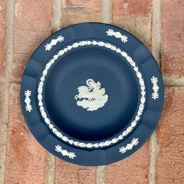 Vintage from the 1970s, this Wedgwood jasperware ashtray / catchall dish is a gorgeous matte slate blue with a cream...