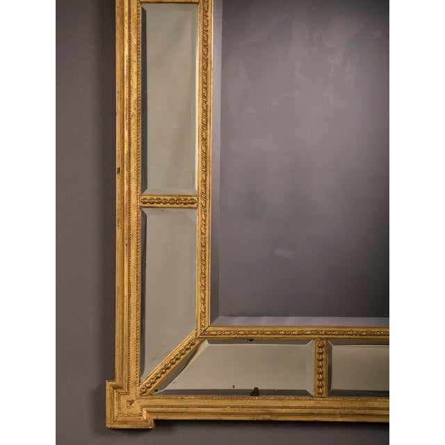 A handsome gold leaf frame in the manner designed by famed English architect Robert Adam that encloses the mirror glass from England c. 1895 For Sale In Houston - Image 6 of 6