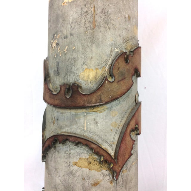 Metal Antique French Wallpaper Roll Table Lamp For Sale - Image 7 of 11