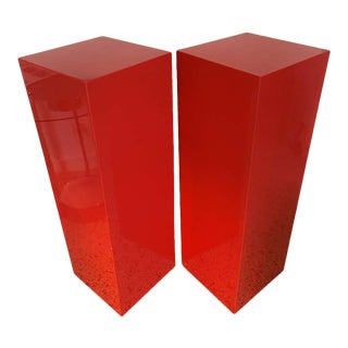 Vintage Minimalist Red Pedestals - a Pair For Sale