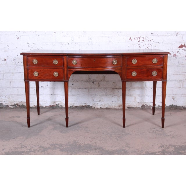Antique English Hepplewhite Style Mahogany Sideboard Buffet For Sale - Image 13 of 13