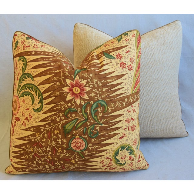 """French Pierre Frey La Riviere Feather/Down Pillows 21"""" Square - Pair For Sale - Image 11 of 13"""