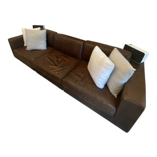 Restoration Hardware Maddox Modular Leather Sofa For Sale