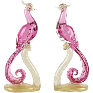 Barbini Murano Vintage Sommerso Pink Gold Italian Art Glass Mid Century Pheasant Bird Sculptures - a Pair For Sale