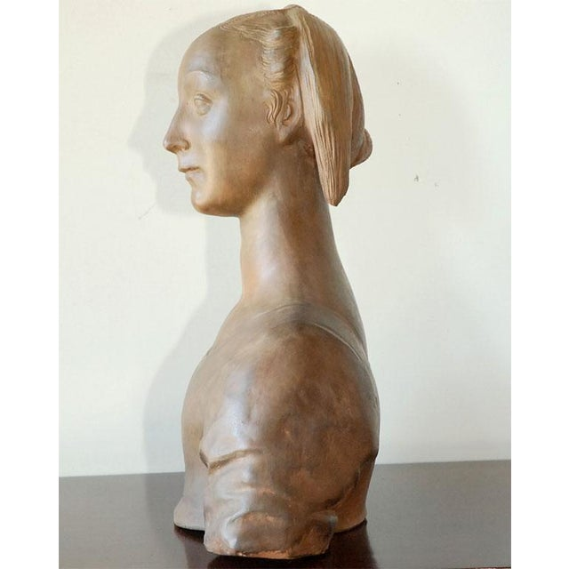 Late 20th Century Renaissance Style Terra Cotta Bust of a Woman For Sale In Los Angeles - Image 6 of 9