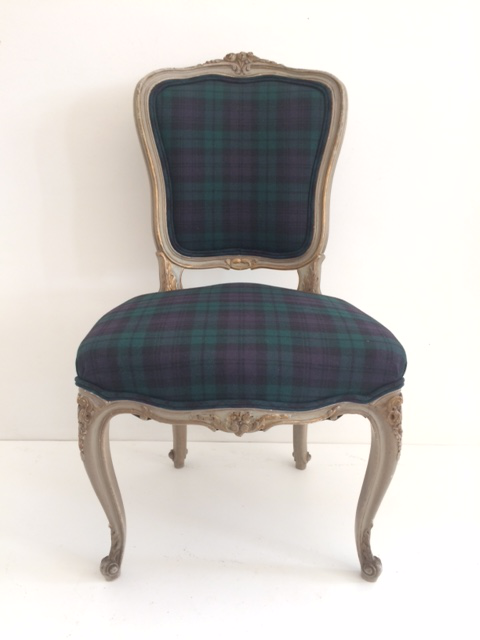 French Louis XV Wool Plaid Upholstered Dining Chairs   Set Of 12 For Sale    Image