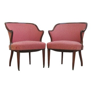 Art Deco Inspired Barrel Arm Chairs, a Pair