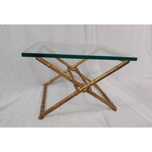 1960s Italian Faux Bamboo Gilt Iron & Glass Butler's Table For Sale - Image 4 of 4