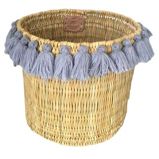 Moroccan Grey Tassel Large Basket For Sale