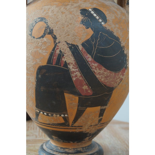 Vintage 1930s Ancient Greek Painted Terra Cotta Garniture - Charger Plate and Two Vases For Sale - Image 9 of 13
