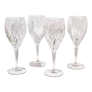 "Noritake ""Moondust"" Glass Etched Plants Flower Goblets - Set of 4 For Sale"