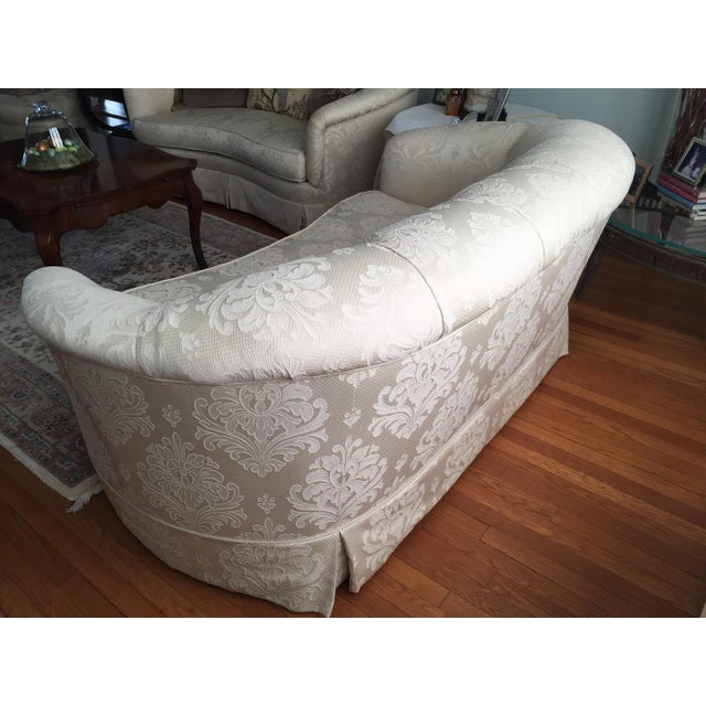 Mid-Century Modern Damask Ivory Fabric Loveseat For Sale - Image 3 of 4