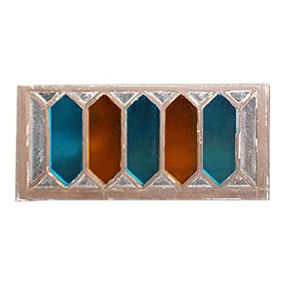 Late 19th Century Traditional Blue and Orange Stained Glass Window For Sale