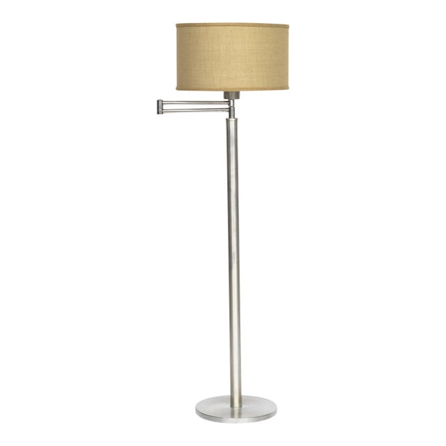 Walter Von Nessen Style Brushed Aluminium Swing Arm Floor Lamp For Sale