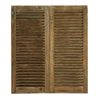 Great Antique English Original Paint Window Shutters - a pair