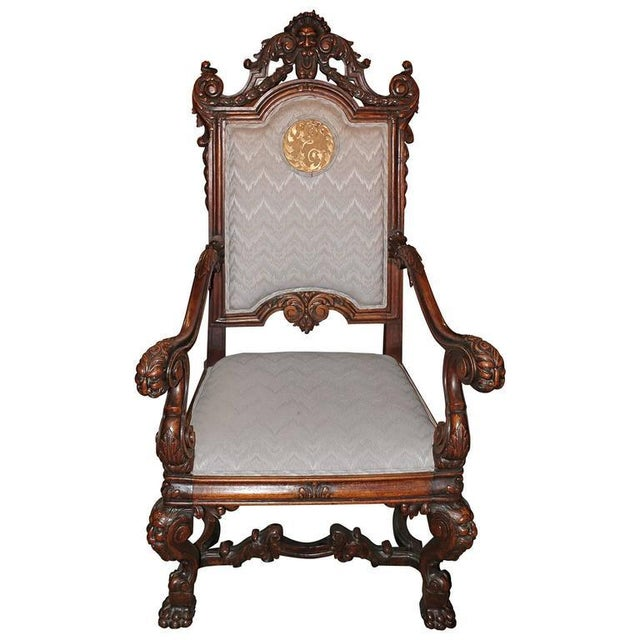Spanish Hand-Carved Wood With 24-Karat Gold-Plated Bronze Emblem Kings Chair - Image 3 of 11