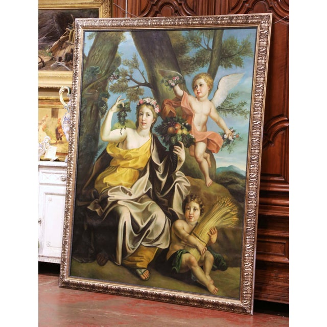 Painted in France circa 1960, and set in a carved silvered and black frame, the important mythological painting on canvas...