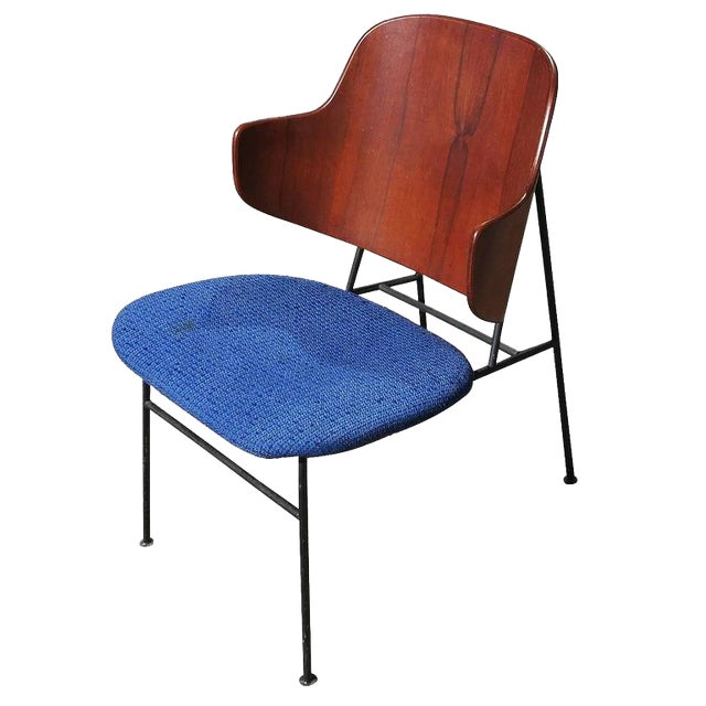 "1950s Ib Kofod-Larsen ""Penguin"" Iron and Molded Birch Danish Lounge Chair For Sale"