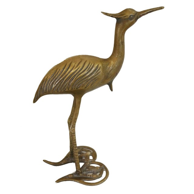 Vintage Brass Crane Bird Figure - Image 1 of 2
