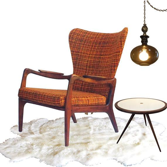 Mid Century Modern Wingback Chair Atomic Age Walnut Arm Chair All Original - Image 4 of 11