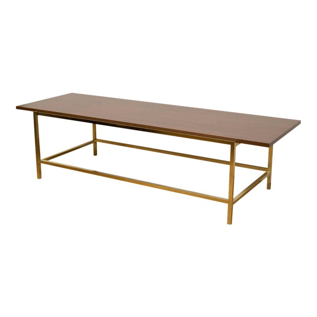 Brass and Walnut Cocktail Table - Image 1 of 7