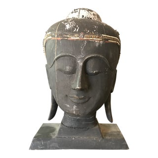 Monumental Antique Carved Head of Black Buddha For Sale