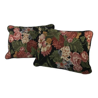 1980s Handmade Floral Needlepoint Throw Accent Pillows - A Pair For Sale