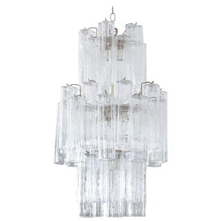 Modern Murano Glass Cylinder Three-Tier Chandelier For Sale