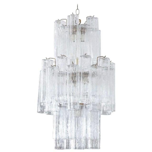 Modern Murano Glass Cylinder Three-Tier Chandelier For Sale