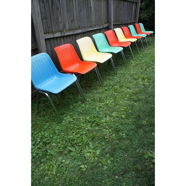 Blue Vintage Columbia Mfg. Stacking Shell Chairs- Set of 10 For Sale - Image 8 of 12