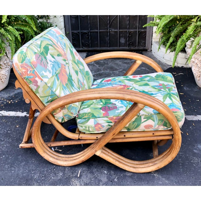 Mid-Century Modern 1950's Bent Rattan Adjustable Triple Banded Bamboo Lounge Chair For Sale - Image 3 of 7
