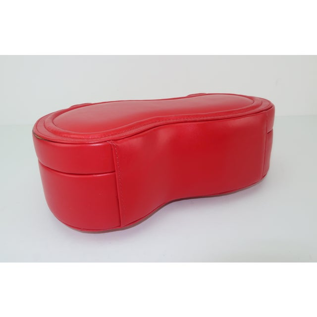 Contemporary Freon Firenze Italian Red Leather Handbag With Unique Handle For Sale - Image 3 of 12