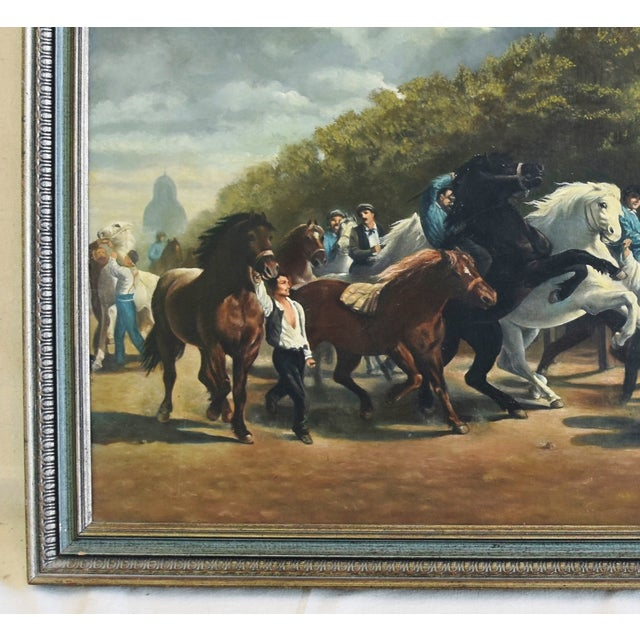 Blue Circa 1928 Marché Aux Chevaux/Bonhuer by G. Robie Oil Painting For Sale - Image 8 of 12