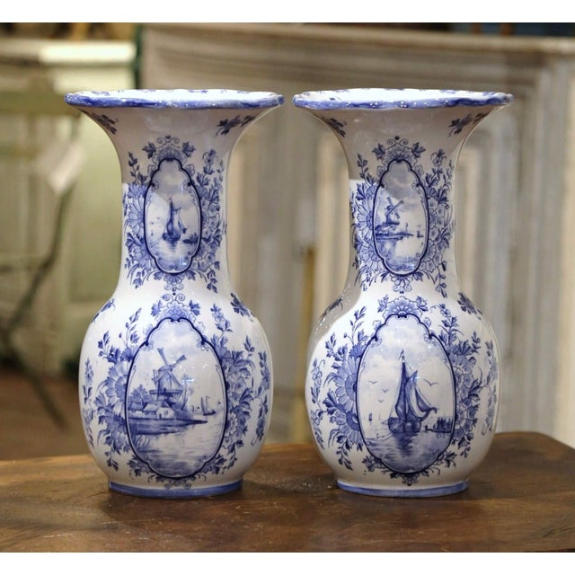 Early 20th Century Dutch Blue and White Hand Painted Faience Delft Vases - a Pair For Sale - Image 10 of 10