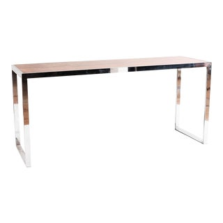 Contemporary Rosewood and Chrome Console For Sale